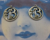 Silver Ox Plated Moon with Lucky Number 13 Charms 2139SOX  X2