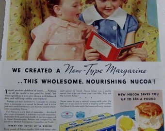 Vintage  Life Magazine Advertisment 1937 Nucoa Margarine