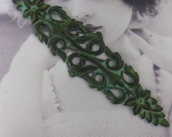 Vintage Verdigris Patina Brass Long Floral Garland Stamping Bent or Straight  2272VER  x1