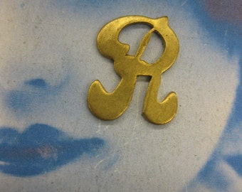 Natural Raw Brass Small  Fancy Script Charms Letter R 257RAW x1