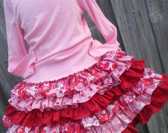 Ready to Ship Custom Boutique Red Pink Hearts Ruffled Nie Nie Skirt Girl 12 inches long Valentine 3 4 5