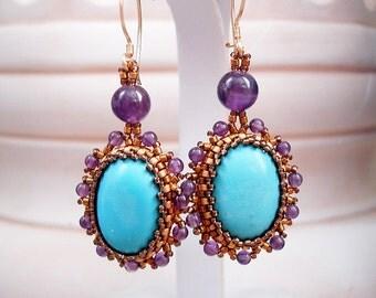 Turquoise Amethyst Gemstones Bezel in Gold Seedbeads Earrings.