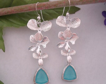 Faceted Mint Crystal  Silver Orchid Cascade Earrings.