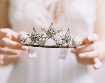 Star tiara, bridal crown, hair accessory, - Stargazer Style no. 1970