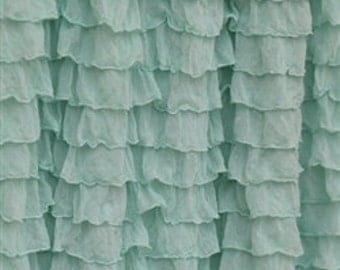 Mint Ruffled Curtain - Bedroom Curtains - Ruffle Curtain Panel - Baby Curtains - Beach Curtain - Mint Green Curtains - Custom Curtain