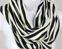 Black and White Stripe Scarves Black and White Striped Scarves Black and White Infinity Scarves Black and White Stripe Circle Scarves Cowls