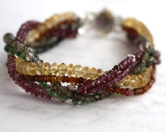 Braided Gemstone Cuff Bracelet of Sapphires, Tourmaline and Citrine in Solid Sterling Silver