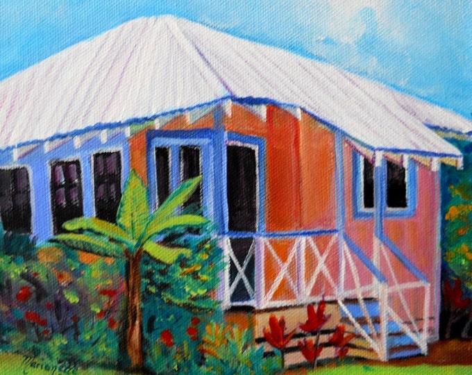 Waimea Cottage 3 8x8  Art Print from Kauai Hawaii by Marionette plantation house peach blue orange