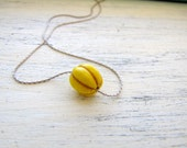 Yellow Pumpkin necklace on Sterling Silver Snake Chain