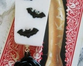 White Coffin with Black Bats and Black Rose Pendant