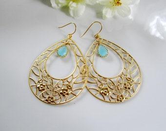 Gold Hoop Earrings, Aqua Teardrop, Bohemian, Flower Pattern, Gypsy, Turquoise Glass, Hippie, Bridesmaid Earrings