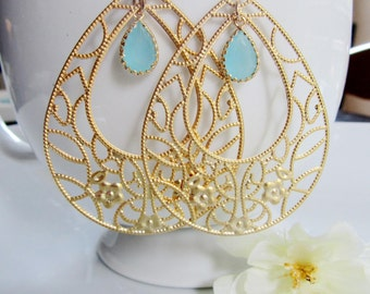 Gold Filigree Teardrop Earrings, Flower Pendant, Hoop Aqua Teardrop, Floral Turquoise Glass, Bohemian Bridesmaid Earrings