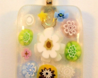 On Sale Now Pastel Flower Millefiori Fused Glass Cabochon