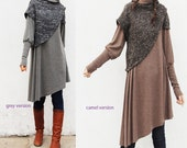 Hypnose - layered thick cotton tunic dress / boho woolen poncho dress / asymmetrical tunic dress idea2lifestyle cotton fleece dress (Q1027)