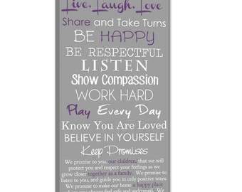 Family Creed with your family's motto House Rules on Canvas 16X48