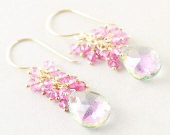 Mystic Topaz Dangle Earrings, Pink Topaz Cluster Earrings, Handmade