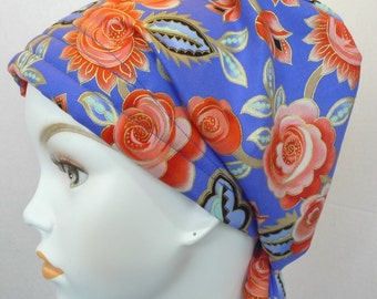 English Traditions Chemo Scarf Hair Loss Cancer Hat Cap Head Wrap Blue Floral Bad Hair Day