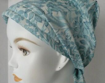 Delicate Aqua Floral Cancer Hat Chemo Scarf Cap Head Wrap Alopecia Turban Headcovering Bad Hair Day