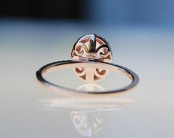 Fleur de lis ring champagne yellow oval sapphire diamond ring 14k rose gold ring engagement ring