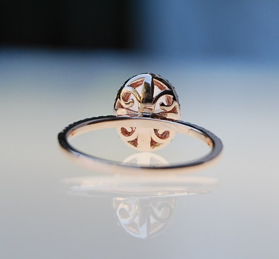 Fleur de lis ring champagne yellow oval sapphire diamond ring 14k rose gold ring engagement ring