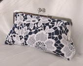 THE AMELIA LACE clutch Vintage Style Bridesmaid Gift Clutch Navy Blue Silk with Ivory