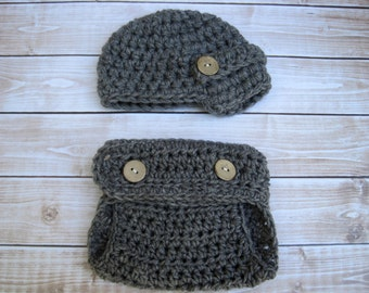 Baby Diaper Cover and Hat, Hat and Diaper Cover, Set, Newborn Baby Hat, Baby Newsboy Hat, Baby Boy Hat, Newborn Baby Hat, Grey, Baby Beanie