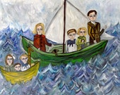 The Cavendish children depart for places unknown.  Original oil painting by Vivienne Strauss.
