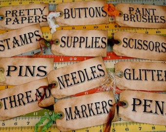12 Sewing Room Studio Supplies Tags - label Uprint thread Digital Sheet storage supply button paper vintage organize