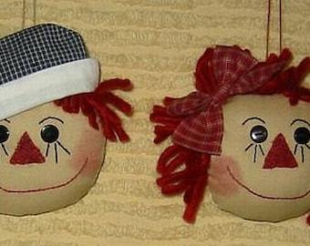 Raggedy Doll Ornies E-Pattern,  Digital Downloadable Pattern