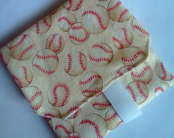 Cloth Reusable Sandwich Wrap -- Wipeable Nylon Lining-- Baseballs