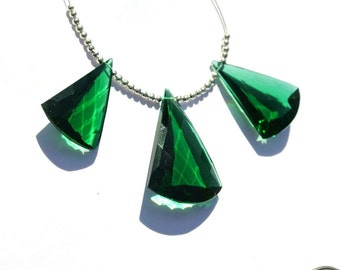 3Pcs Set AAA Green Quartz Faceted Fancy Briolettes Size 30x20 - 36x25mm Trio, Match Pair, Focal Pendant, Jewelry Supplies