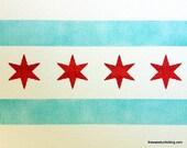 Chicago Flag Greeting Card Set of 4 - Original Watercolor Design