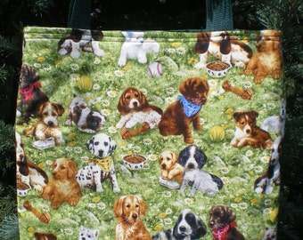 Puppy Dogs on grass Tote Bag Poodle Bassett Dalmatian Lab Spaniel Handmade Purse