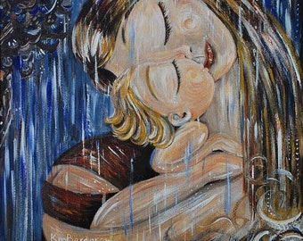 Undiluted, mother and child blue rain art print