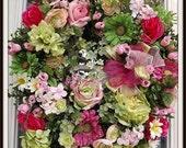 Floral Wreath, Door Wreath, Spring Wreath, Summer Wreath, Home Decor, Year Round Wreath, Shabby Chic Wreath, Mother's Day Gift Wreath
