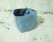 CLEARANCE Denim and Cowboy Western Print Fabric Soft sided bowl Basket Bin Container