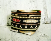 CLEARANCE Canoe Print Fabric Soft sided bowl Basket Bin Container with green lining