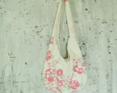 CLEARANCE Vintage Tablecloth Tote Bag Pink floral