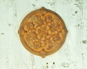 Ceramic Medallion Painted Faux Rusty Wall Hanging