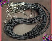 10 Black Necklace Cords, Black Cords, Finished Necklace Cords, 18.5 inches long, Cord Necklaces, Finished Cords, 18 inch Cords