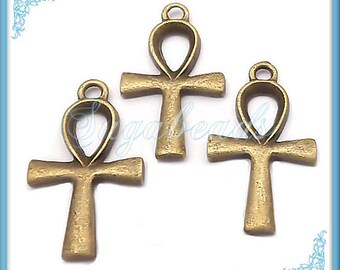 20 Egyptian Ankh Charms in Antiqued Brass 26mm x 15mm PB34