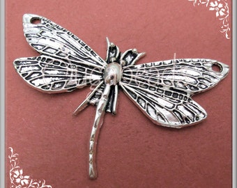 3 Antiqued Silver Dragonfly Connector Pendants
