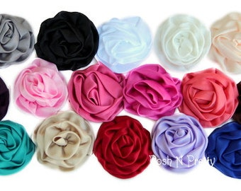 5 Pcs Soft Gathered Matte Satin Parisian Rose. Flat back- 3 inches- PICK COLORS