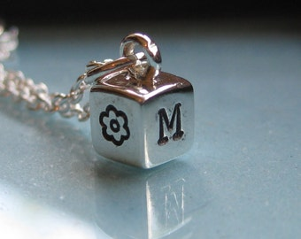 Four sided sterling mini cube initial family necklace- LARGER SIZE