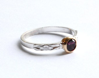 Pink Tourmaline Gold and Silver Ring Size 7 (Or any size -- See notes)