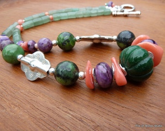 Organic Stone & Sterling Necklace / Ethnic Tribal Style / Colorful Stone Beads / Green Peach Purple / Large Carved Stone Focal / *Centered