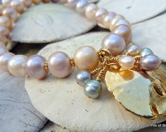 Golden Shore* Pearl & Sand Dollar Necklace / Near Round Pastel Pearls / Gold Dipped Natural Seashell / Elongated Freshwater Pearl Dangles