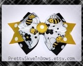 Layered Bumble Bee Boutique Hair Bow Clip in Black, Yellow, and White
