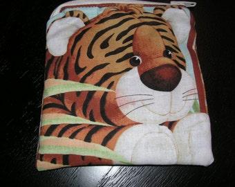 Jungle Babies Animals Tiger handmade fabric coin change purse card holder