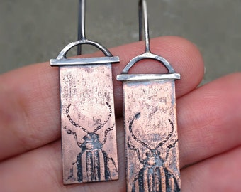 THE BEETLES -- Hand Crafted Antiqued Sterling Silver & Etched Copper Beetle Earrings